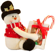 Holiday Snowman with Milk Chocolate Foiled Holiday Ornaments Gift Box