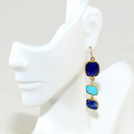 Faceted Sapphire jade and blue turquoise. 14K gold filled wired. Designed and made in USA