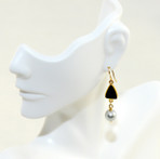 Black agate druzy with round silver fresh water pearl, 14K gold filled wires.  Designed and made in USA