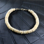 """White freshwater pearl discs with sterling silver spacers and clasp. 19"""""""