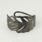 """Feather cuff, gunmetal. Hand patinated bronze with gunmetal finish. 1.5"""" wide"""