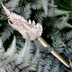 "Fern Letter Opener. A mix of green brass finish and green patina over bronze.  8"" long"