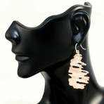 "Birch Earrings. Sterling silver with copper highlights. 1.5"" long"