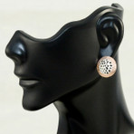 """Lotus Seed Pod earrings. Sterling silver with rose gold plated. 0.5"""" diameter"""