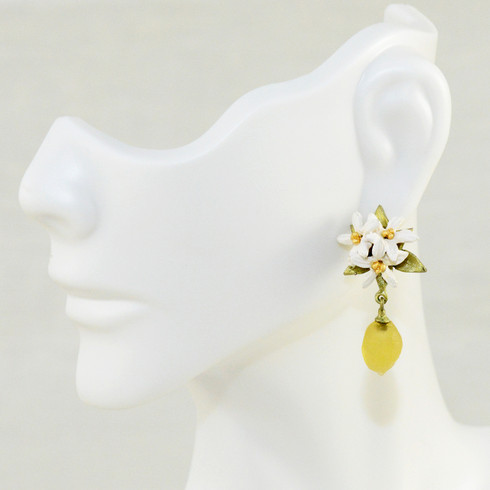 """Lemon drop earrings. Post. Hand patinated bronze and hand-formed glass. Accented of gold and matte silver plate. 1.25"""" long. 0.5"""" wide"""