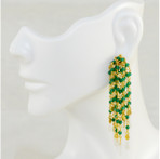 """Waterfall. Green onyx, 18K gold plated on sterling silver.  13 strands. 2"""" long"""