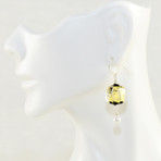 Black and Gold Flat Glass Earrings