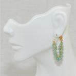 Aquamarine Fringe Hoops Earrings