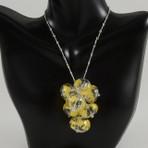 Cluster Amber Gold Leaf Necklace