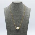 18mm Freshwater Pearl 'Floater' With Gold Chain