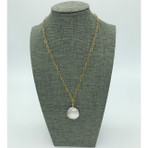 23MM 'Coin' Freshwater pearl, with Gold Chain