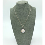 22MM Natural 'Coin' Freshwater Pearl, with silver chain