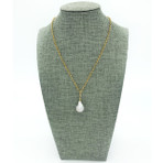 Silver Metallic 'Baroque' Freshwater Pearl with gold chain Necklace