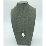 White 'Baroque' Freshwater Pearl with Silver Chain Necklace