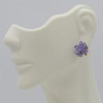 Blue Water Lily Post Earrings