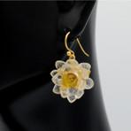 White Water Lily Drop Earrings