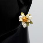 Orange Blossom Button Post Earrings