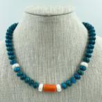 Turritella Jasper, Coral, Pearl Necklace
