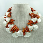 Two Strand of Coral, Mother of Pearl & Silver Necklace