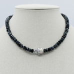 Obsidian and Baroque Pearl Necklace