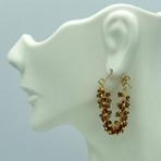 Garnet Fringe Hoops Earrings