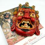 Red Mahakala Wooden Mask