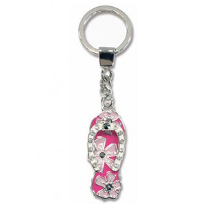 Flip Flop Metal Bling Rhinestone Keychain - 12615000