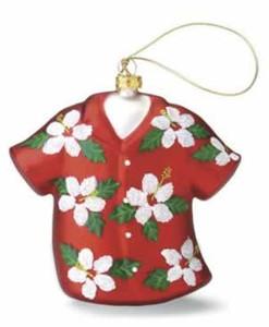 Aloha Shirt Hand-Blown Glass Christmas Ornament - 13910000