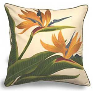 Bird of Paradise Cotton Twill Embroidered Pillow - 9949040101