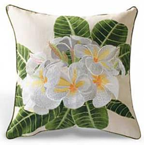 Plumeria Flower Cotton Twill Embroidered Pillow - 9949044101