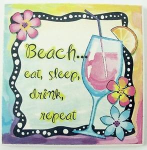 "Beach Single Absorbent Coaster ""Eat, Sleep, Drink, Repeat"" - 02-051"