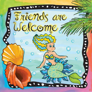 """Beach Single Absorbent Coaster Mermaid """"Friends are Welcome"""" - 02-055"""