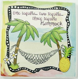 """Beach Single Absorbent Coaster """"One Tequila, Two Tequila..."""" - 02-058"""