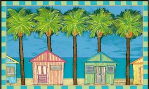 "Beach Theme Floor Mat ""Cabana Bahama"" MatMates 11202D"