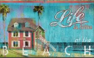 """Beach Theme Floor Mat """"Life is Better at the Beach"""" by MatMates 12326D"""