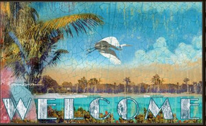 "Island Theme Welcome Floor Mat ""Island Sanctuary MatMates 12329D"