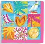 Patchwork Beach Paper Cocktail Napkins 15-154
