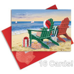 Christmas Cards Red Green Adirondacks Chairs - Glitter and Foil - 16 Per Box - 27-098