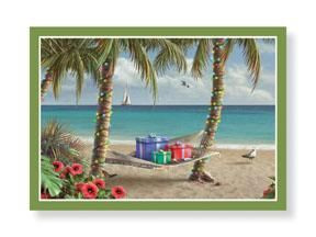 """Christmas Cards """"Palms and Hammock"""" Box of 16 - 25-512"""