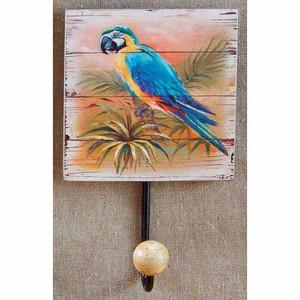 Blue Parrot Painted Wood Hook 29823B