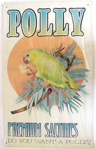 """Parrot Tin Sign """"Polly Premium Saltines"""" -29855B"""