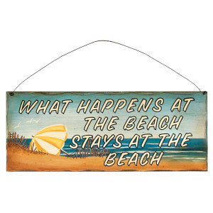 """17"""" What Happens at the Beach Wood Sign 31375D"""