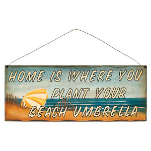 """Beach Theme Wood Sign """"Home is...""""- 31376F"""