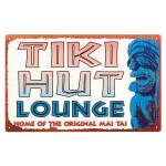 "Vintage Style Tin Sign ""Tiki Hut Lounge"" - 32314C"