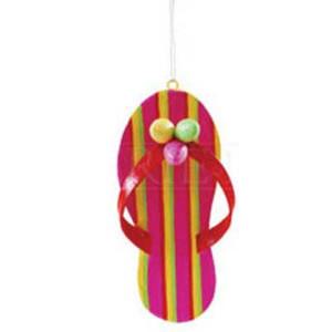 Pink Flip Flop Large Wood Ornament 68820-Pink