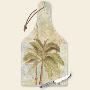 """Palm Tree Cutting Serving Board with Knife """"Palm Beach"""" - 34-210"""