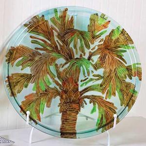 "20"" Handpainted Palm Round Glass Platter 3FP10035"