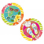 Flip Flops Sunglasses Absorbent Stone Coasters 4 Set Tray 3RC104274
