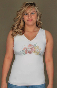 Hibiscus Flower Tank Top with Rhinestones - Size Small - 6041/1357