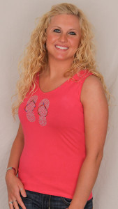 Flip Flop Theme Tank Top Pink with Rhinestones Size Small Only - 6081/1062